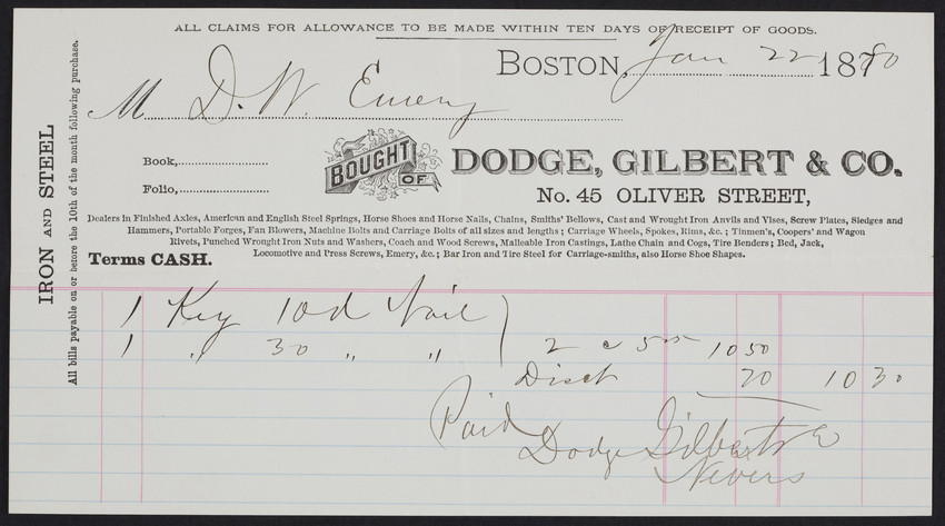 Billhead for Dodge, Gilbert & Co, iron and steel, Boston, Mass., dated January 22, 1870