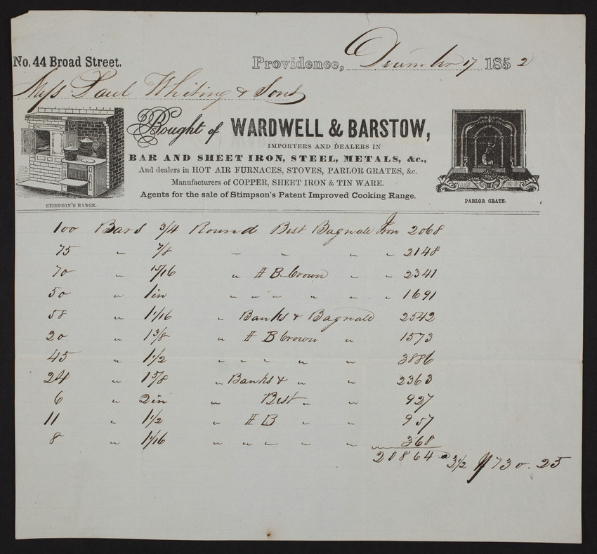 Billhead for Wardwell & Barstow, bar and sheet iron, steel, metals, &c., no. 44 Broad Street, Providence, Rhode Isaland, dated December 7, 1852