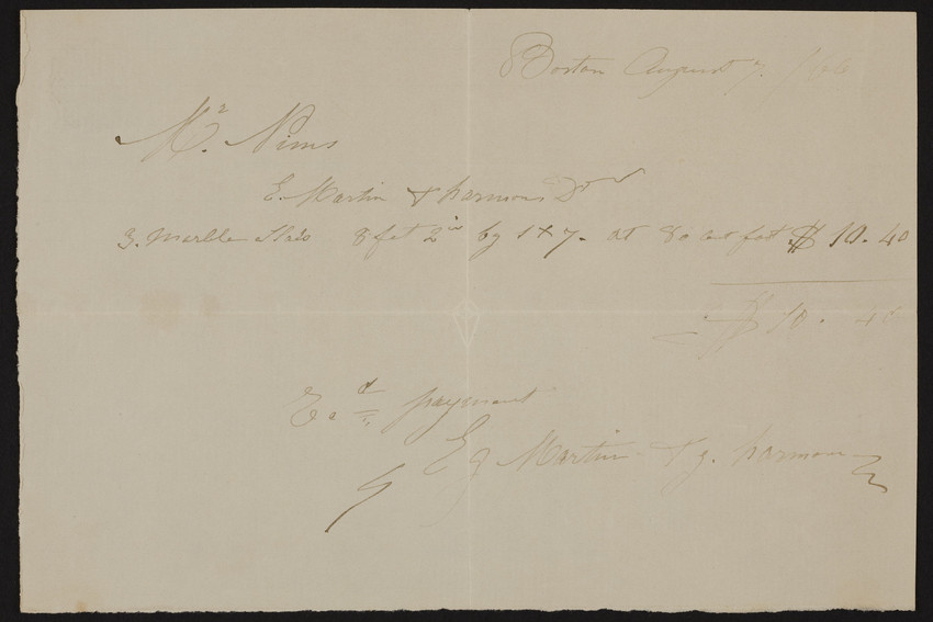 Receipt for Martin & Harmon, Boston, Mass., August 7, 1866