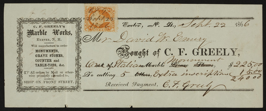 Receipt for C.F. Greely's Marble Works, Exeter, New Hampshire, dated September 22, 1866