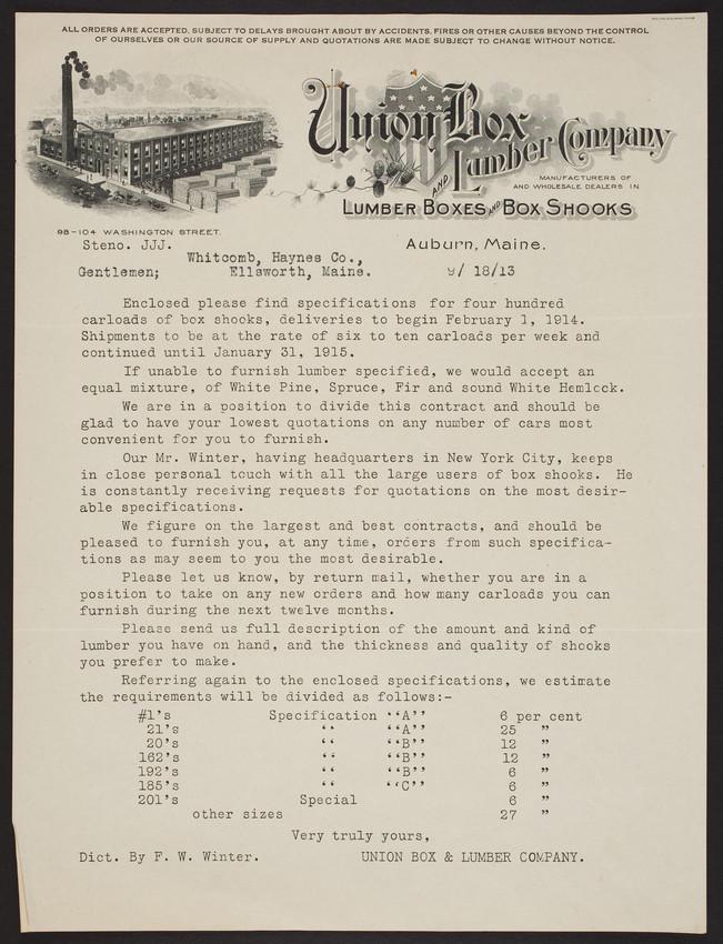Letterhead for Union Box and Lumber Company, lumber boxes and box shooks, 98-104 Washington Street, Auburn, Maine, dated September 18, 1913