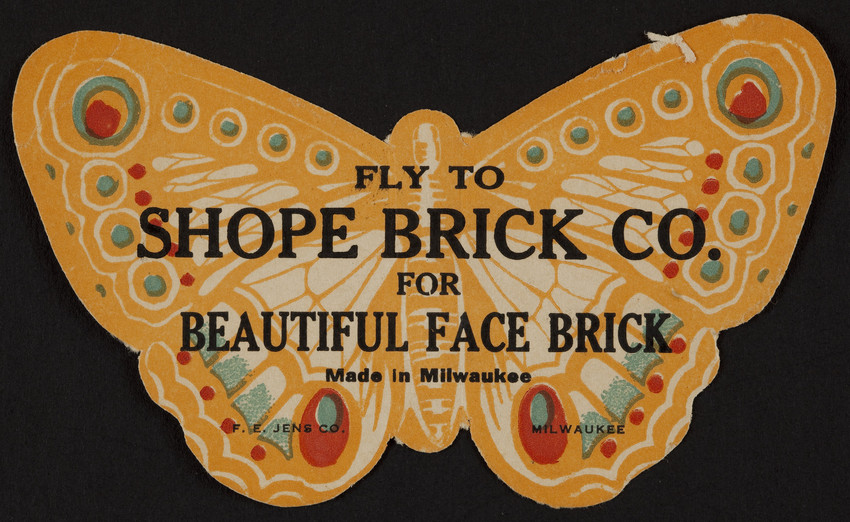 Trade card for Shope Brick Co., face brick, Milwaukee, Wisconsin, undated