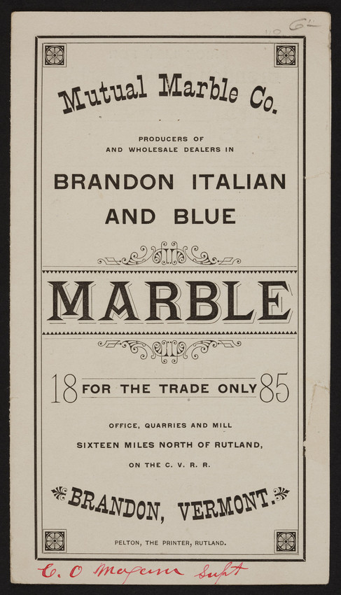 Mutual Marble Co., Brandon, Vermont, 1885