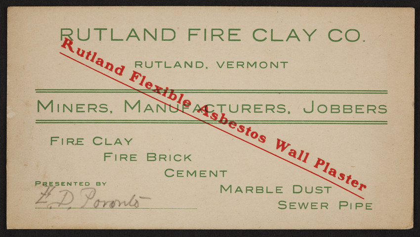 Trade card for Rutland Fire Clay Co., miners, manufacturers, jobbers, Rutland, Vermont, undated