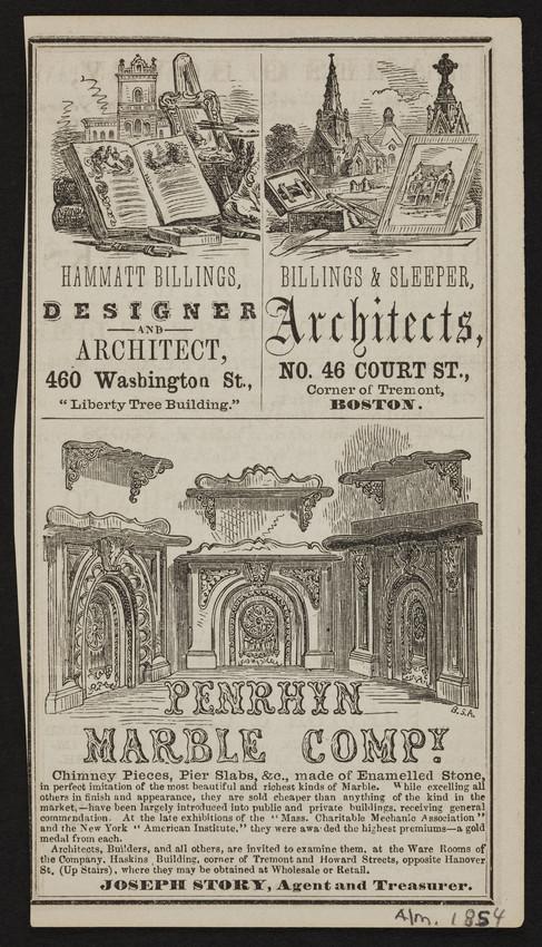 Advertisement for architects, Boston, Mass., 1854