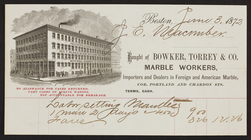 Billhead for Bowker, Torrey & Co., marble workers, corner Portland and Chardon Streets, Boston, Mass., dated June 3, 1872