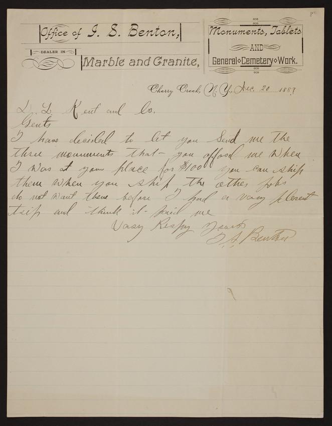 Letterhead for J.S. Benton, marble and granite, Cherry Creek, New York, dated December 20, 1889
