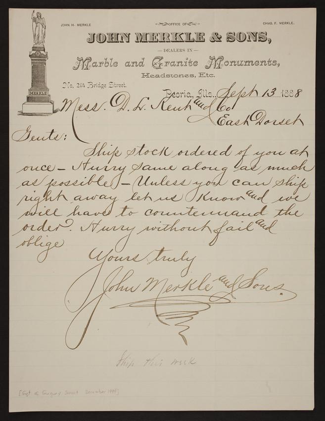 Letterhead for John Merkle & Sons, marble and granite monuments, No.214 Bridge Street, Peoria, Illinois, dated September 13, 1888