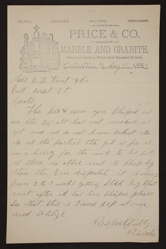 Letterhead for Price & Co., marble and granite, Franklin Street, Circleville, dated August 13, 1888