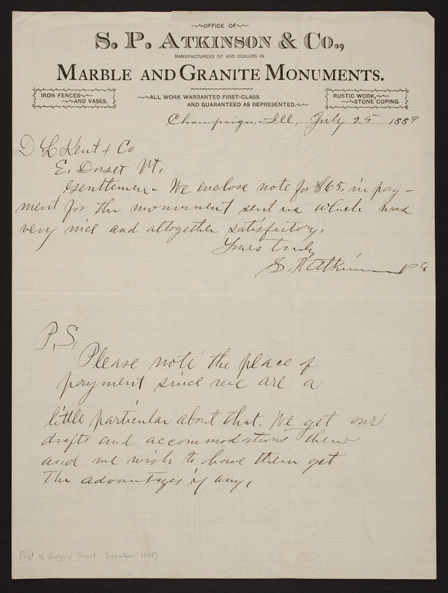 Letterhead for S.P. Atkinson & Co., marble and granite monuments, Champaign, Illinois, dated July 25, 1889