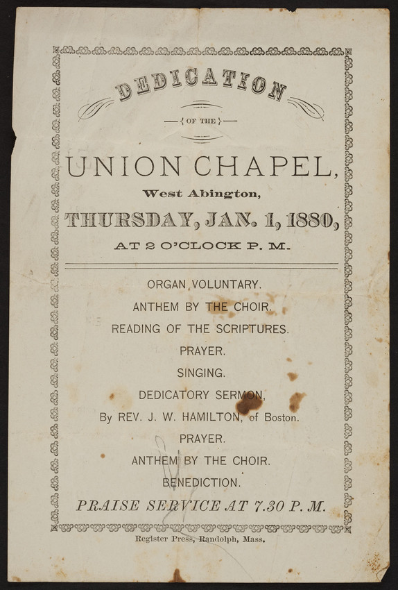 Dedication of the Union Chapel, West Abington, Mass., January 1, 1880