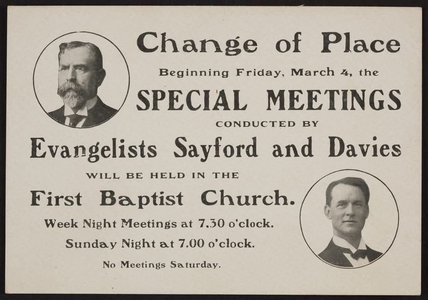 Trade card for the Evangelists Sayford and Davies, First Baptist Church, location unknown, undated