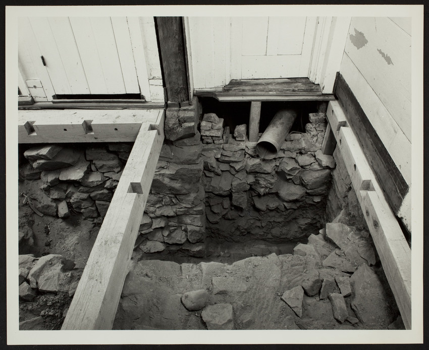 Exterior view of Spencer-Peirce-Little Farm House, excavation, Newbury, Mass., March 1990