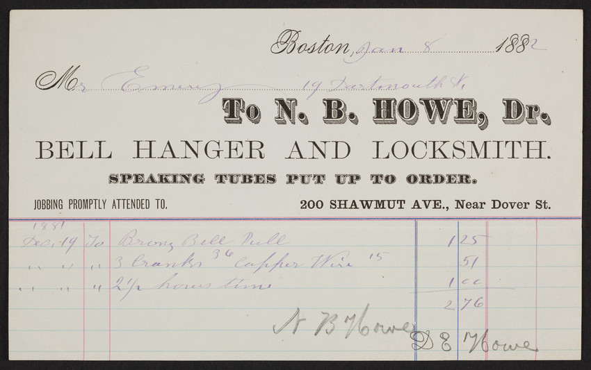 Billhead for N.B. Howe, Dr., bell hanger and locksmith, 200 Shawmut Avenue, near Dover Street, Boston, Mass., dated January 8, 1882