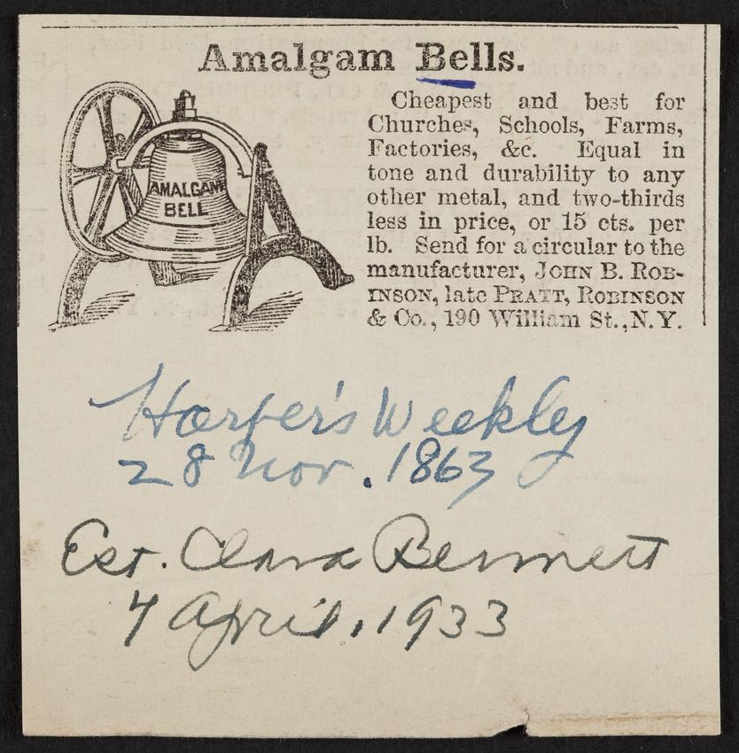 Advertisement for Amalgam Bells, John B. Robinson, late Pratt, Robinson & Co., 190 William Street, New York, New York, dated 28 November, 1863