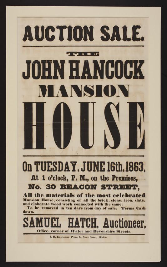 Auction Sale. The John Hancock Mansion House