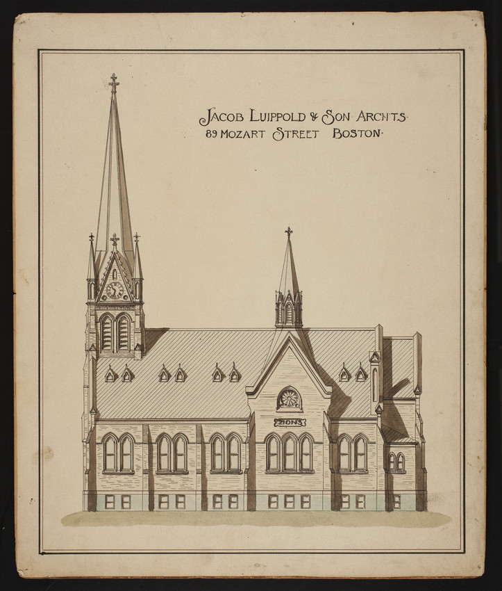 Side elevation of unidentified church, undated