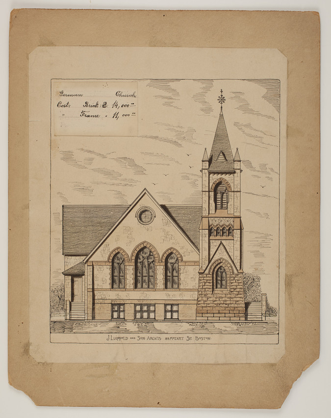 Side elevation of unidentified German Church, undated