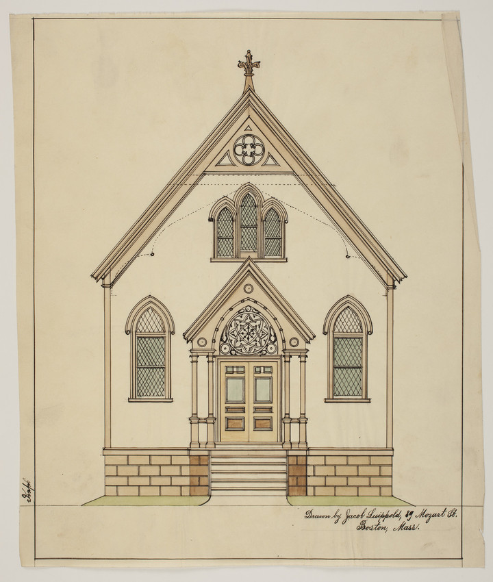 Front elevation of unidentified church, undated