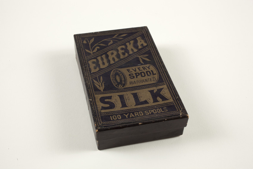Box for Eureka Silk 100 yard spools of thread, Seavey, Foster & Bowman, location unknown, undated
