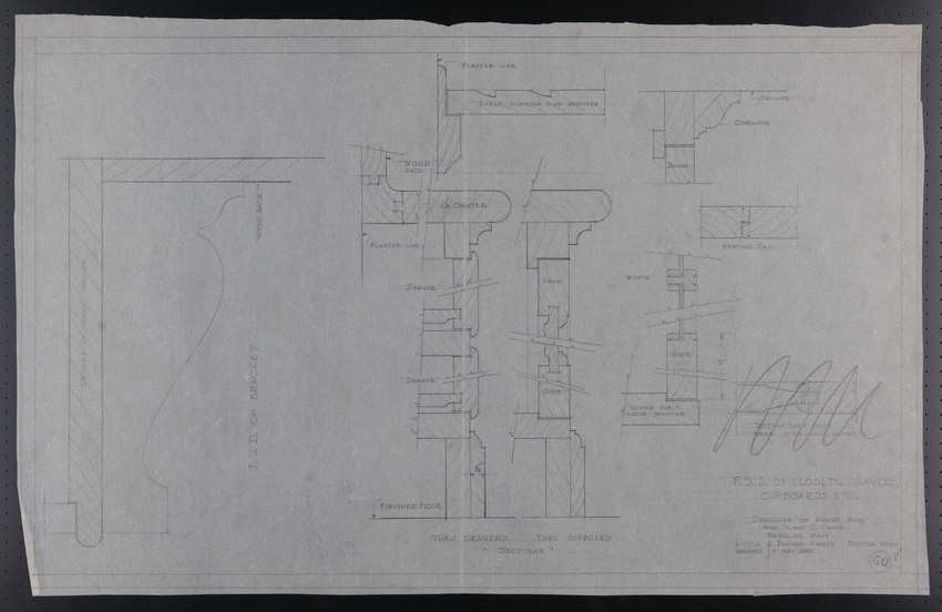 F.S.D. of Closets, Drawers, Cupboards etc., Drawings of House for Mrs. Talbot C. Chase, Brookline, Mass., January 7, 1930