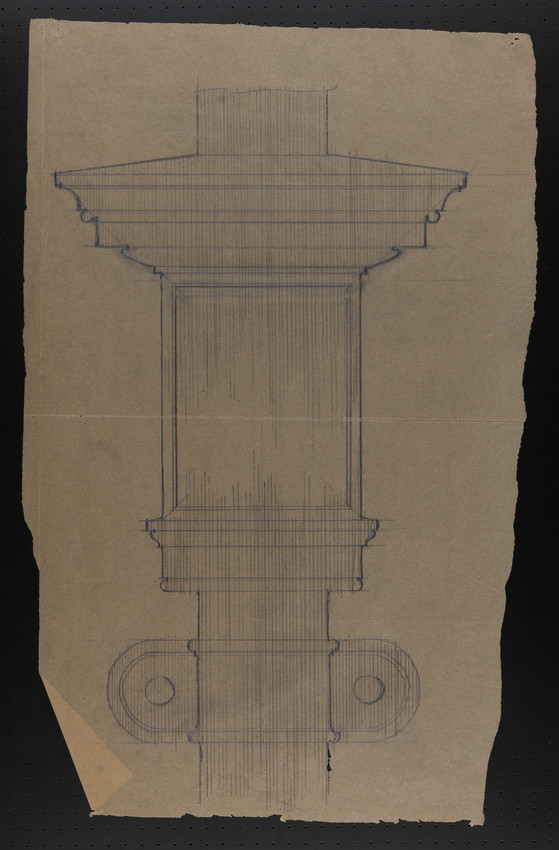 Unfinished drawing of copper conductor heads, residence for Mrs. Talbot C. Chase, Brookline, Mass., undated