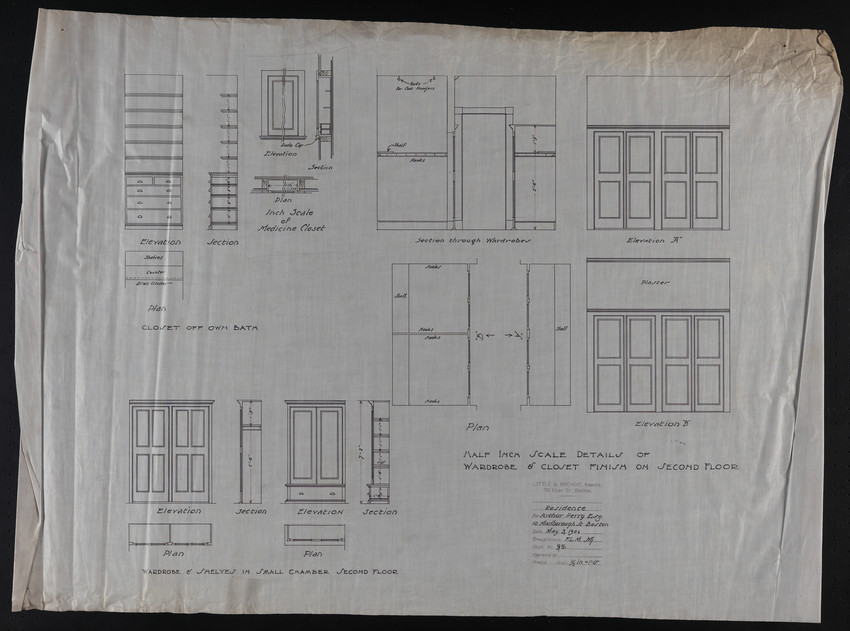 Half Inch Scale Details of Wardrobe & Closet Finish on Second Floor, May 3, 1906