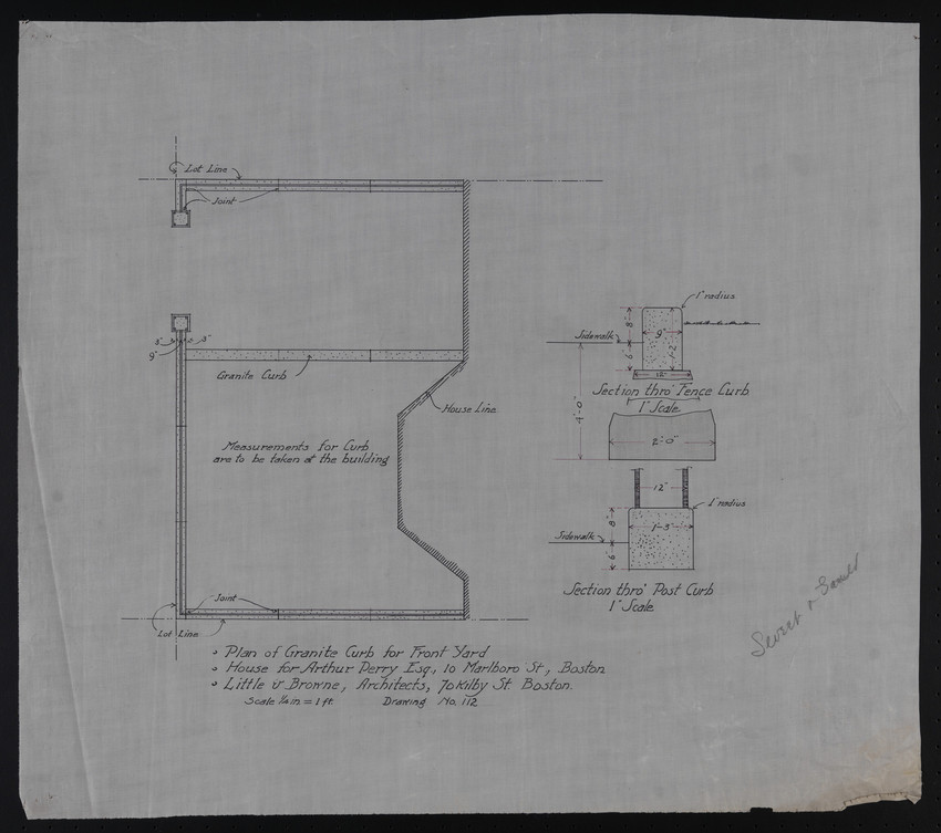 Plan of Granite Curb for Front Yard, House for Arthur Perry Esq., 10 Marlboro St., Boston, undated