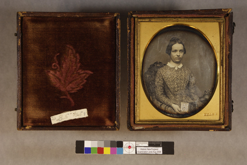 Unidentified woman with daguerreotype case