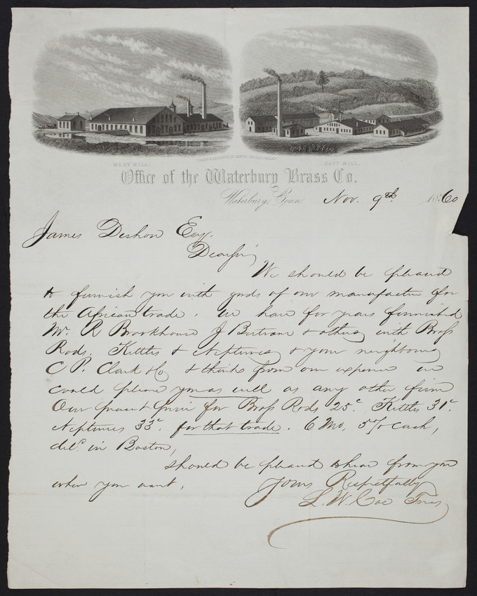 Letterhead for the Waterbury Brass Co., Waterbury, Connecticut, dated November 9, 1860