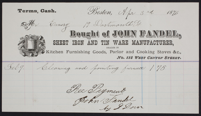 Billhead for John Fandel, sheet iron and tin ware manufacturer, No. 113 West Canton Street, Boston, Mass., dated April 3, 1876