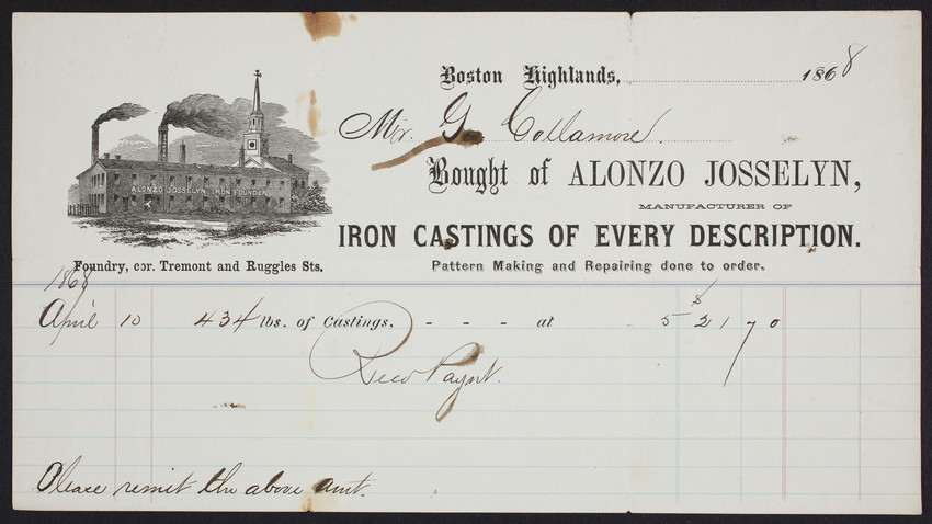 Billhead for Alonzo Josselyn, manufacturer of iron castings of every description, corner Tremont and Ruggles Streets, Boston Highlands, Mass., dated April 10, 1868
