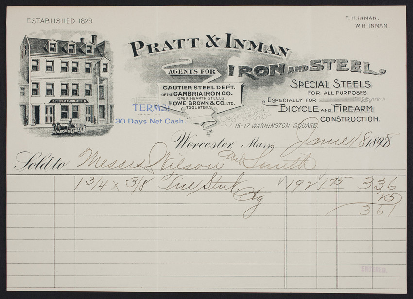 Billhead for Pratt & Inman, iron and steel, 15-17 Washington Square, Worcester, Mass., dated June 18, 1898