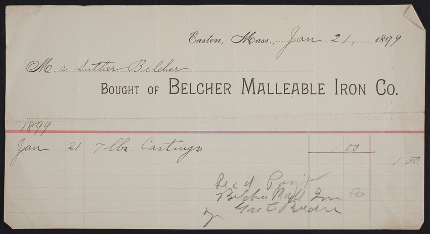 Billhead for the Belcher Malleable Iron Co., Easton, Mass., dated January 21, 1899
