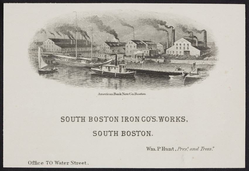 Trade card for the South Boston Iron Company's Works, South Boston, Mass., undated