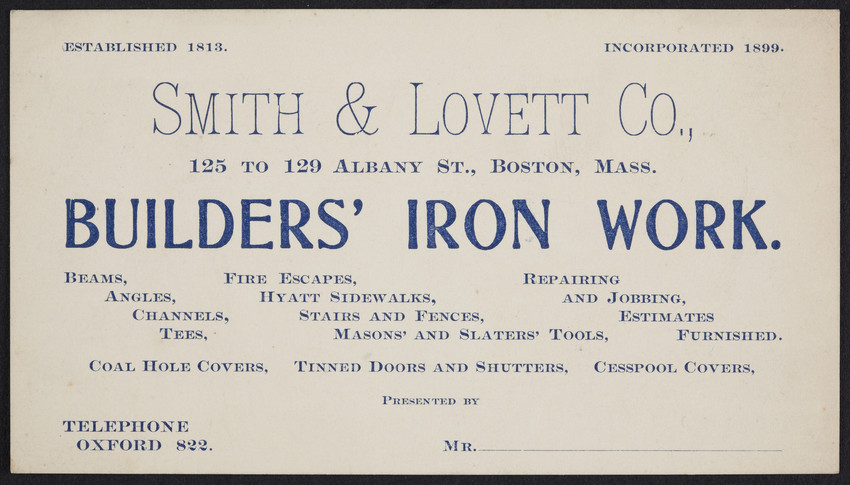 Trade card for Smith & Lovett Co., builders' iron work, 125 to 129 Albany Street, Boston, Mass., undated
