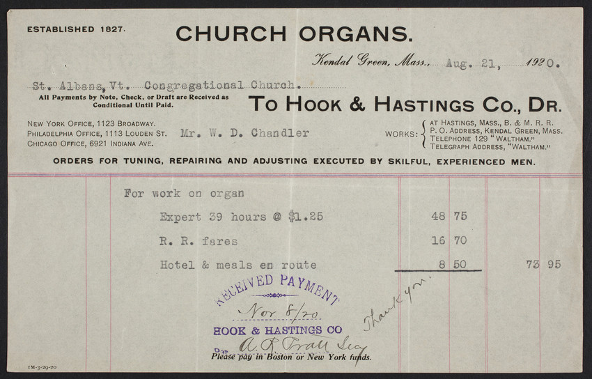 Billhead for Hook & Hastings Co., Dr., church organs, Kendal Green, Mass., dated August 21, 1920