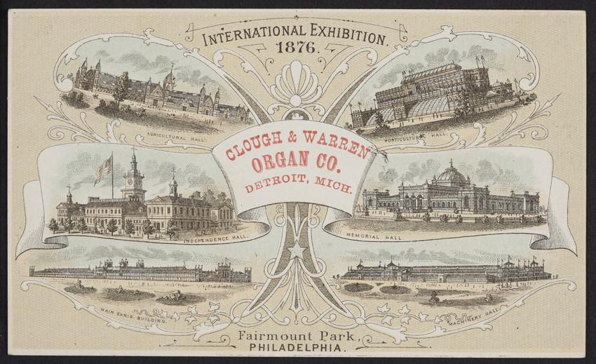 Trade card for Clough & Warren Organ Co., Detroit, Michigan, 1876