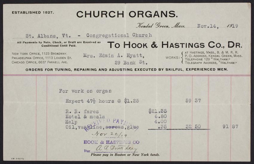 Billhead for Hook & Hastings Co., Dr., church organs, Kendal Green, Mass., dated November 14, 1919