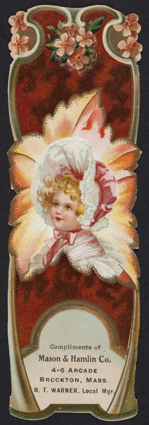 Bookmark for the Mason & Hamlin Co., pianos, organs, 4-6 Arcade, Brockton, Mass., undated