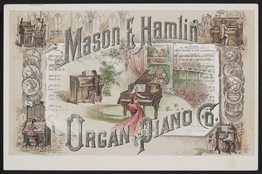 Trade cards for the Mason & Hamlin Organ and Piano Co., Boston, New York, Chicago, undated