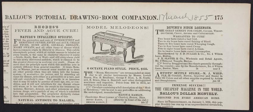 Advertisement for Model Melodeons, Mason & Hamlin, Cambridge Street corner of Charles, Boston, Mass., March 17, 1855