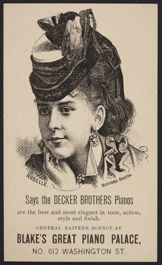 Trade card for Blake's Great Piano Palace, No. 612 Washington Street, Boston, Mass., undated