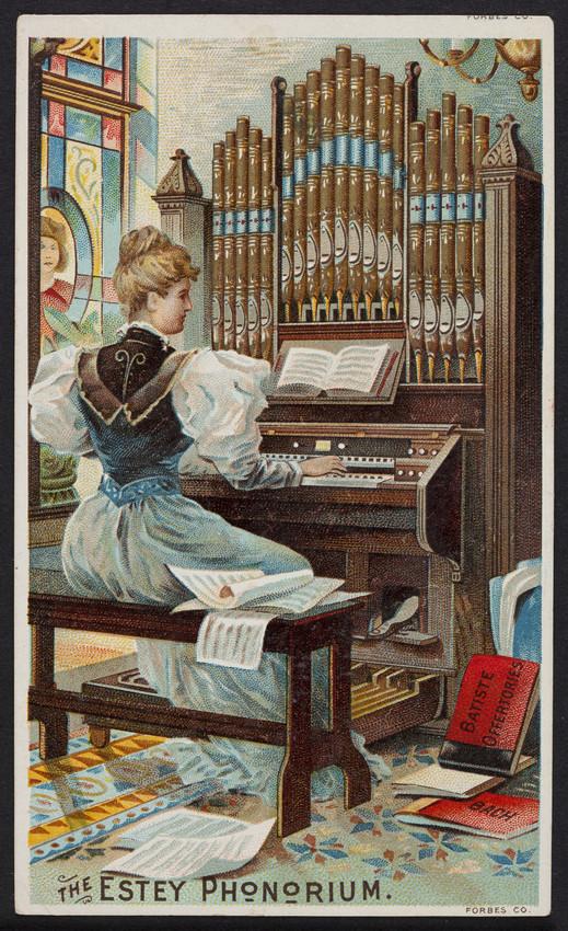 Trade card for The Estey Phonorium, Estey Organ Works, Brattleboro, Vermont, undated