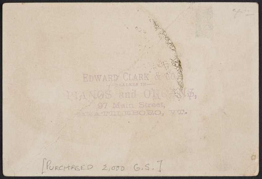 Trade card for the Estey Organ Co., Brattleboro, Vermont, undated