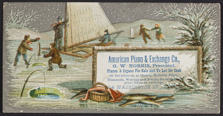 Trade card for the American Piano & Exchange Co., pianos & organs for sale and to let for cash, 604 Washington Street, Boston, Mass., undated