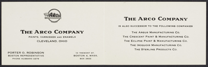 Business card for Porter O. Robinson, The Arco Company, paints, varnishes and enamels, Cleveland, Ohio, undated