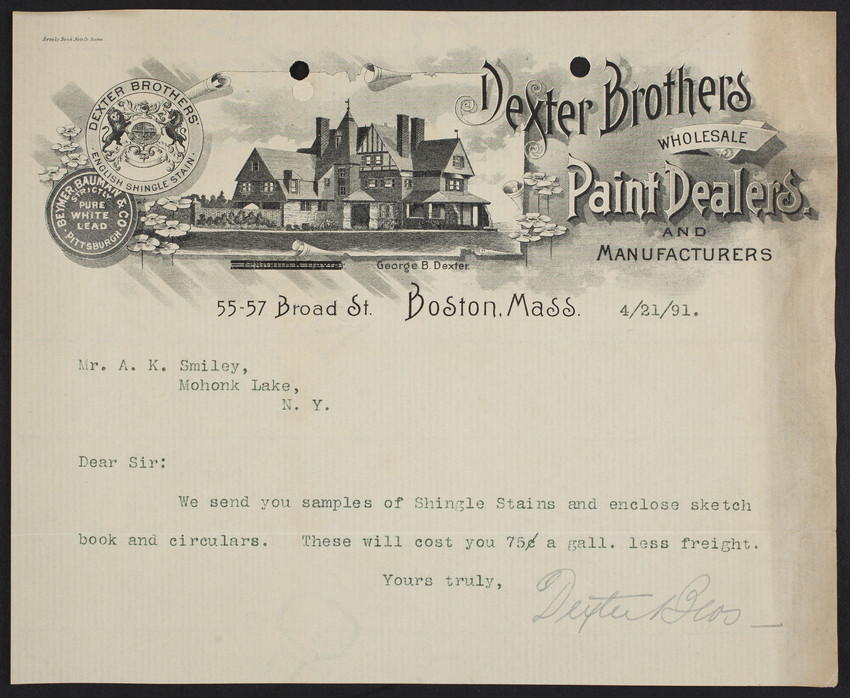 Letterhead for Dexter Brothers, wholesale paint dealers and manufacturers, 55-57 Broad Street, Boston, Mass., dated April 21, 1891