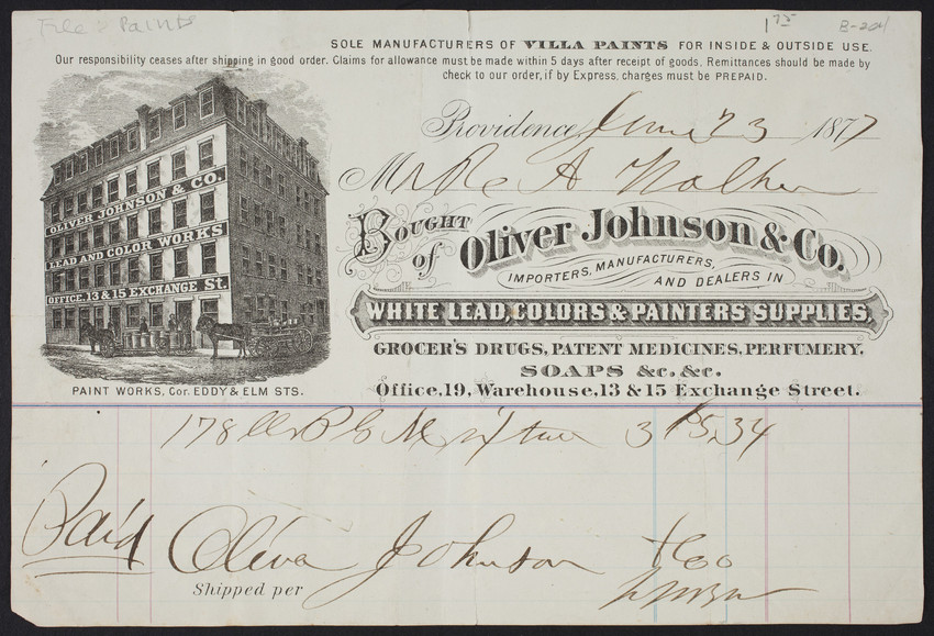 Billhead for Oliver Johnson & Co., importers, manufacturers and dealers in white lead, colors & painters supplies, office 19, warehouse, 13 & 15 Exchange Street, Providence, Rhode Island, June 23, 1877