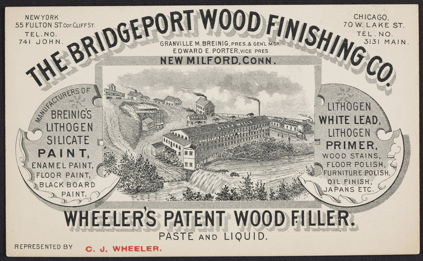 Trade card for The Bridgeport Wood Finishing Co., paint, white lead, stains, New Milford, Connecticut, undated